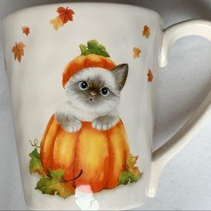 Autumn Kitten Pumpkin Coffee Mug Pier One